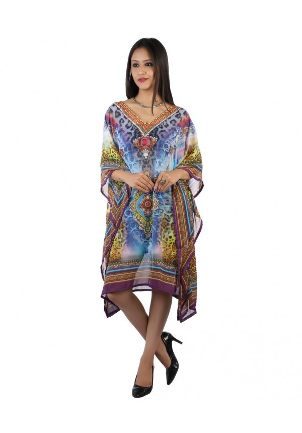 Kaftan de playa multicolor estampado paisley